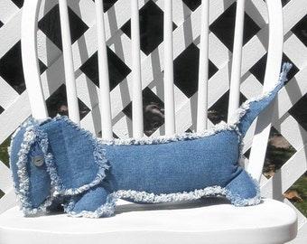 Dachshund Denim Jeans Pillow Dog Stuffed Animal Handmade Rag Dog Adult Toy