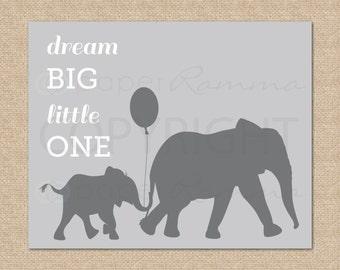 Safari Nursery Art, elephant nursery art // Dream Big Little One //m2m PBK Taylor Organic Nursery//Modern Safari Theme Decor// N-G07-1PS AA1