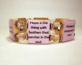 EMILY DICKINSON QUOTES Scrabble Bracelet / Book Lover Gift / Poet Jewelry / Handmade