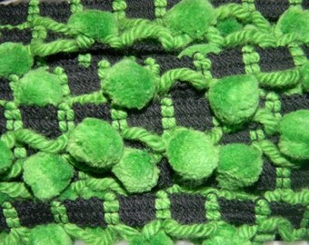 Green and Black Pom Pom Fringe