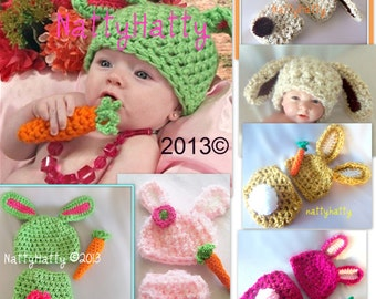 Crochet easter Bunny Hat Diapercover and carrot