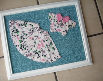 Vintage Doll - Wall art - AT THE HOP - Vintage doll skirt and top - Vintage room decor - Framed - Doll clothes- Hand Stitched
