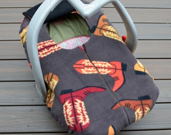Cowboy Boots Car Seat Cover for Baby, Vintage, Retro, Cowgirl