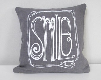 Pillow Cover - Cushion Cover - SMILE design - 12 x 12  inches - Choose your fabric and ink color - Accent Pillow