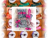 Custom satin ribbon zebra wedding ring bearer pillow, flower girl basket, guest book and bridal garter set