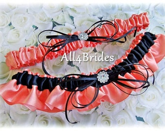 Coral Reef and Black Bridal Leg Garters, Wedding Garters, or Prom Garters, Coral and Black Satin