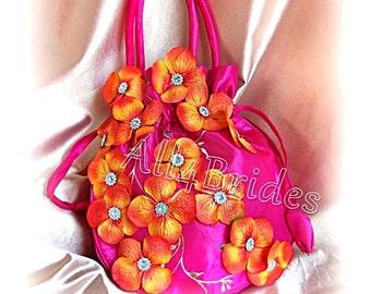 Hot pink and orange wedding bridal drawstring bag purse, bridal accessories.  Wedding money dance bag.