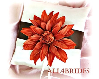 Wedding Pillow Persimmon and Chocolate Brown.  Fall wedding decorations, ring bearer pillow