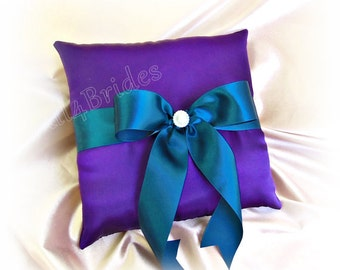 Grape purple and teal wedding ring bearer pillow, wedding decorations ring cushion.