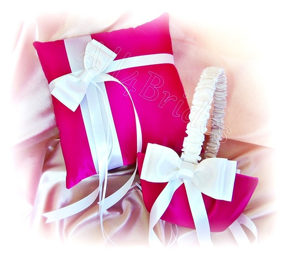 How To Make A Flower Girl Basket With Fabric : Wedding fuchsia pink flower girl basket and ring pillow