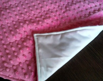 Hot Pink Minky Large Waterproof Changing Pad - 16 x 30 Mat - - Easy Care Wash/Dry