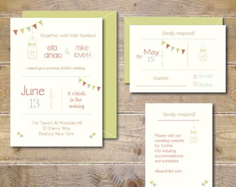 Mason Jar Wedding Invitations . Wedding Invites . Rustic Wedding Invitations . Banner Wedding Invitations - Banner & Mason Jar