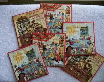 Coasters Pals at Play Home Decor Table Linens Drink Coasters Handmade Pet Coasters