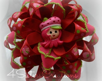Custom Ribbon Red Strawberry Shortcake Flower Loop Bow with Custom Resin and Moonstitch