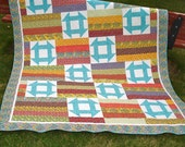 Twin Bed Quilt Patchwork with Churn Dash Block Blankets and Throws