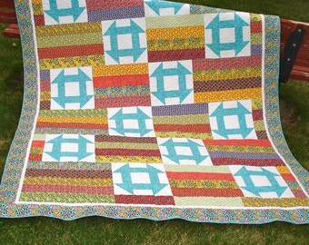 Twin Bed Quilt Patchwork, Churn Dash Block,  Blankets and Throws