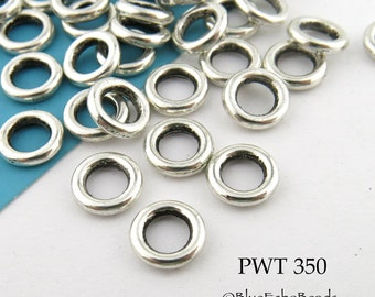 9mm Pewter  Connector, Jump Ring, Closed Link (PWT 350) 24 pcs BlueEchoBeads