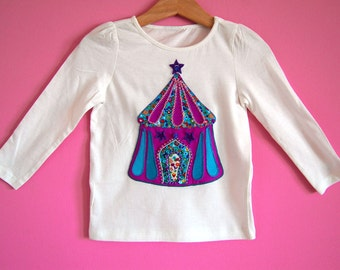 CIRCUS Girls long sleeve t-shirt, toddler top, baby girl tshirt with circus tent applique and hand embroidered beads and sequins, girl tee