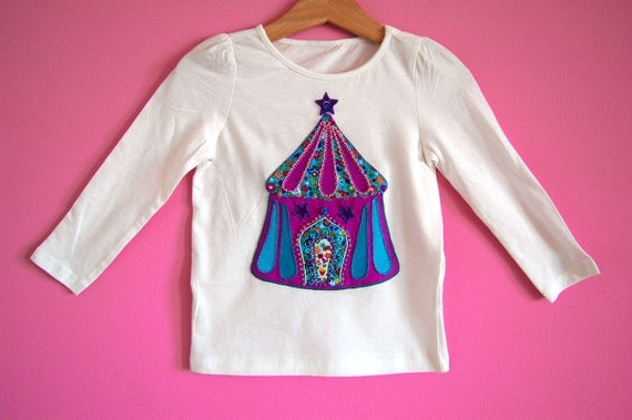 Girls long sleeves t-shirt CIRCUS witha a circus tent applique and emroidered crystal beads and sequins, any size