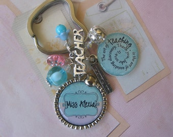 Personalized Lilac and  aqua teacher's Keychain, end of year gift