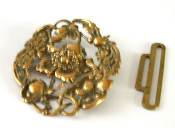 Vintage GILT FORAL BUCKLE - Oval shape  - embossed and cut out  motifs- Beautiful Flower in the center - Art Nouveau - slide apart - Patina