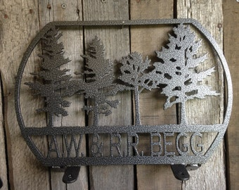 Mail Box Topper with Trees and Personalized Text Box  (V24)