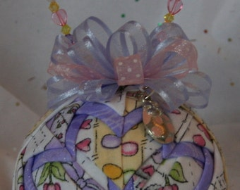 Quilted Ornaments Quilt Ball Ornaments Easter Spring Bunny Chick Eggs Hearts Flowers Handmade Beaded Hanger Heart Charm