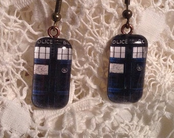 TARDIS Earrings - Doctor Who - Glass Tile TARDIS Earrings - Time and Relative Dimension in Space, now for your ears - Doctor Who Earrings