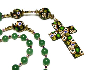 Green Aventurine Anglican Rosary Prayer Beads Episcopal Polymer Clay Canework Protestant Handmade Cross Spirituality & Religion