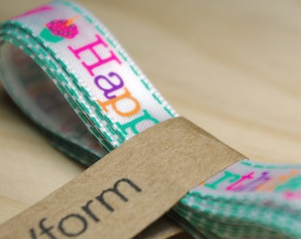 Happy Birthday Satin Ribbon / 1 cm wide 200 cm long