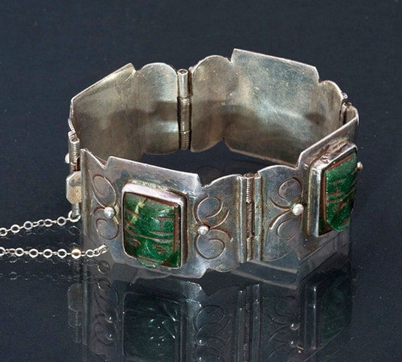 Mexican Sterling Pre-Eagle Green Stone Panel Bracelet 76g - Best Buy