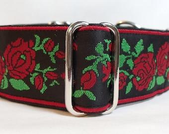 "1.5"" Red Roses on Black Jacquard Ribbon Greyhound, Whippet, Sighthound, Dog.Martingale Collar"