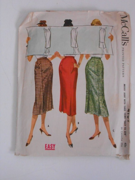 Vintage 50s Pencil Kick Pleat Skirt Pattern Mccalls 4134 Waist