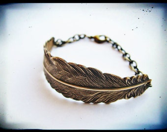 Antique Brass Curved Greek Goddess Feather Bracelet