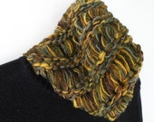 Cowl scarf, men women neckwarmer, hand knit SOFT merino wool winter stretch green gold brown crochet hood wide headband neck gaiter i871