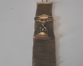 Vintage Watch Fob Mesh with Buckle Slide and Fob