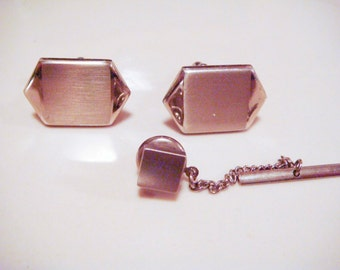 Vintage SWANK Geometric Art Deco Cuff Links and Tie Tack