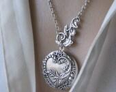 Heart LOCKET, Silver Locket Necklace,Heart Necklace,Leaf Necklace,Lockets,Victorian Locket, Antique Locket,Botanical Jewelry, Woodsy Wedding