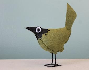 Wool Felt Pip Bird - Splash Green