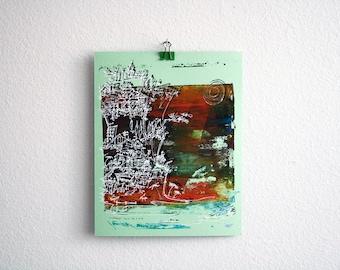 CLIFFHANGER   ocean art print   textured fall colors on seafoam green   original silkscreen by Kathryn DiLego