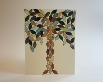 Shining Tree Note Card, Vintage Wallpaper, Mosaic, Hand Cut, Wallpaper Leaves, Original, Arts and Crafts, Stained Glass, Art Deco, OOAK