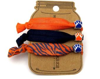 Paw Knotted Elastic Hair Tie Bracelet No Crease Ponytail Holder orange blue dog cat animal