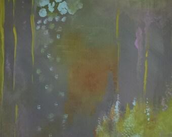 Abstract Art Painting Modern Art Grey Orange Yellow - Beneath the Canopy 11 x 14 on canvas