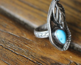 Vintage Sterling and Turquoise Ring Leaf and Nugget Design Native American Indian Authentic