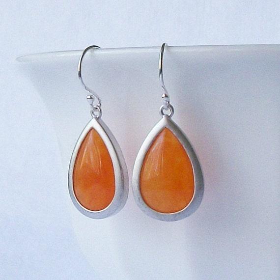 LAST ONE Orange Crystal Drop  Earrings