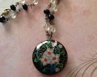 Vintage Chinese Cloisonne Enamel Pendant with beaded Chain