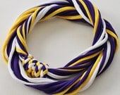 T Shirt Scarf - Infinity Circle Scarves Recycled Cotton - Purple Yellow Gold White Minnesota Vikings Los Angeles Lakers Casual