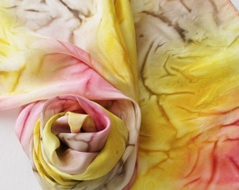 Hand Painted Silk Scarf - Handpainted Scarves Campfire Yellow Gold Pink Rose Brown Gray Grey Taupe White Warm