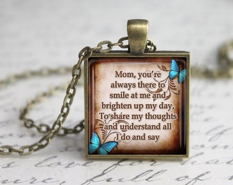 Mother's Day Glass Pendant,  Mom Inspirational Glass Pendant,  Mom Quotes Necklace,Gift for Mother's Day