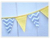 Baby Shower Banner, Chevron Bunting, Yellow Polka Dots, Yellow and Gray Chevron Fabric Banner, Home Decor, Nursery Decor, Flags, Bunting